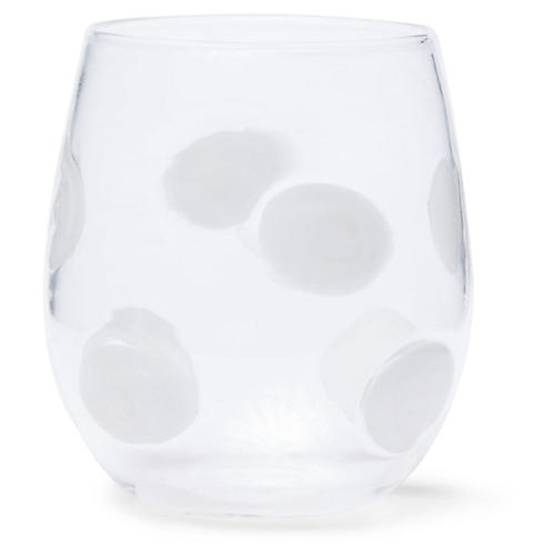Drop Stemless Wineglass, Clear/White