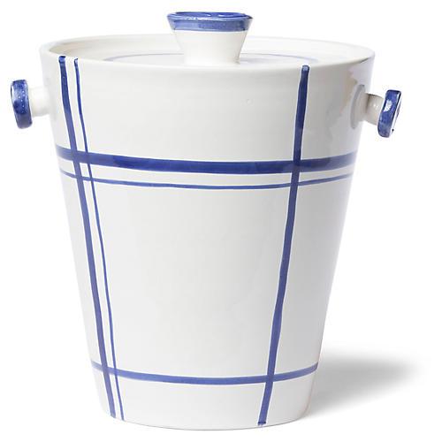 Stripe Ice Bucket, White/Blue
