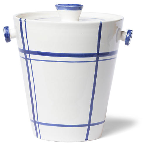 Stripe Ice Bucket, White/Blue