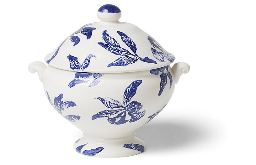 Melagrana Soup Tureen, Blue/Ivory