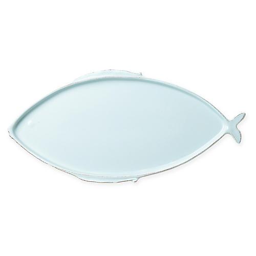 Lastra Melamine Fish Oval Platter, Aqua