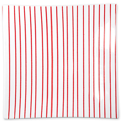 Stripe Square Platter, Red
