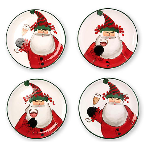 S/4 Old St. Nick Cocktail Plates, White