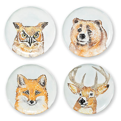 S/4 Into the Woods Salad Plates, White