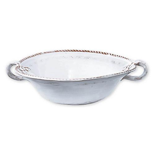 Bellezza Stone Medium Handled Serving Bowl, White