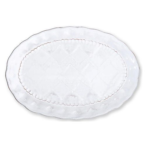 Bellezza Stone Oval Platter, White