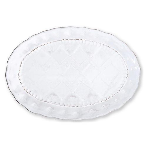 Bellezza Stone Oval Platter, White