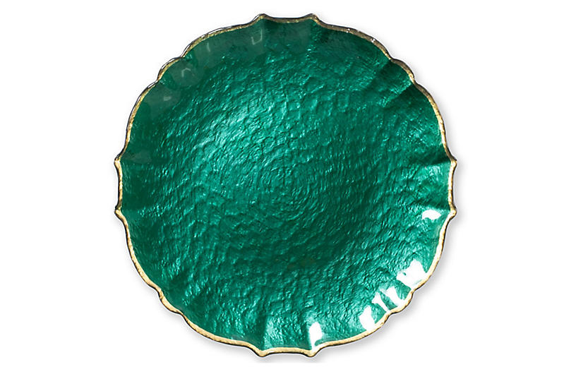 Pastel Glass Charger, Emerald