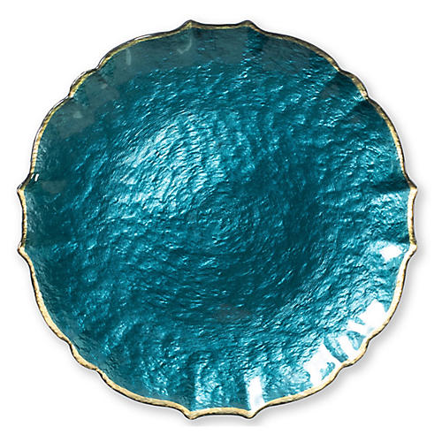 Pastel Glass Charger, Teal