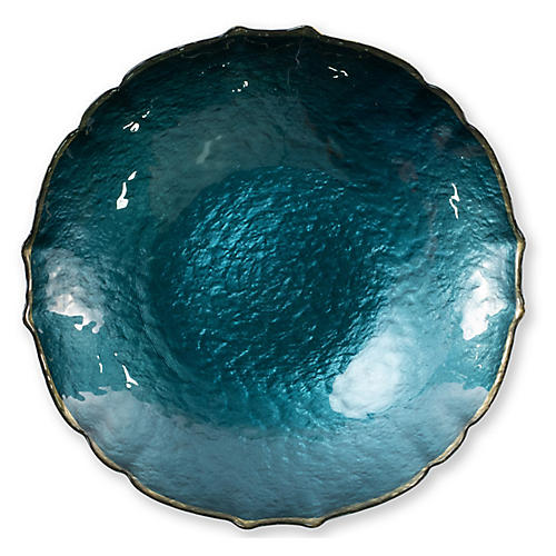 Pastel Glass Medium Bowl, Teal
