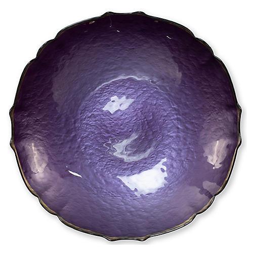 Pastel Glass Large Bowl, Purple
