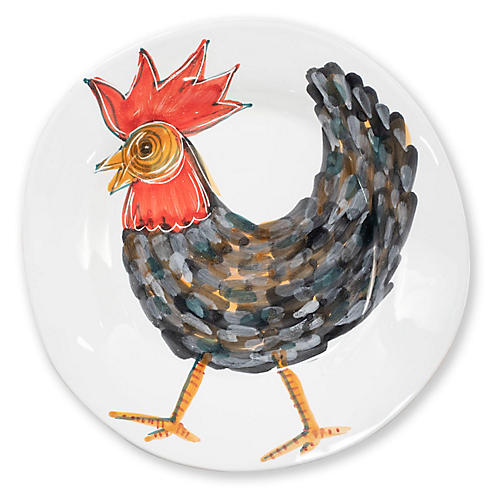 Fortunata Rooster Shallow Bowl, White