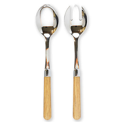 2-Pc Albero Salad Serving Set, Oak