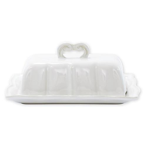 Incanto Stone Baroque Butter Dish, White