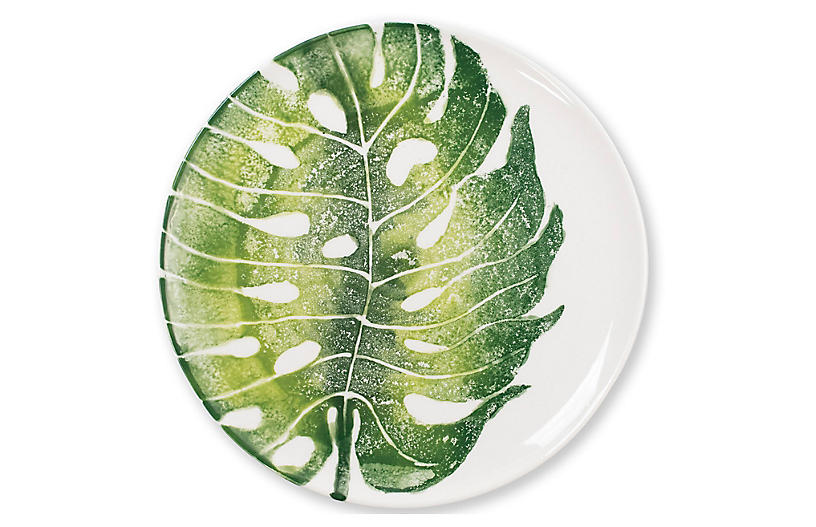 Into The Jungle Monstera Dinner Plate, White