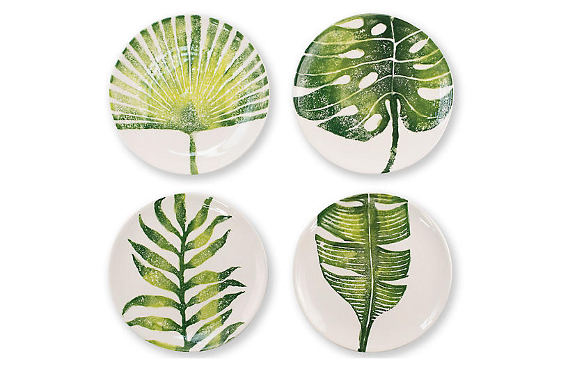 Asst. of 4 Into The Jungle Salad Plates, White