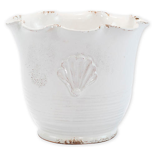 "11"" Garden Small Scallop Outdoor Planter, White"