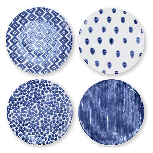 Asst. of 4 Santorini Dinner Plates, Blue/White