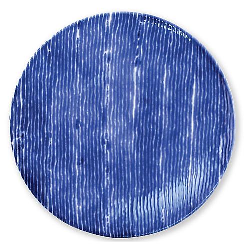 Santorini Stripe Dinner Plate, Blue/White