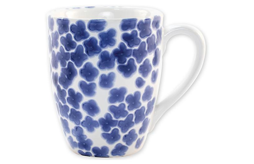 Santorini Flower Mug, Blue/White