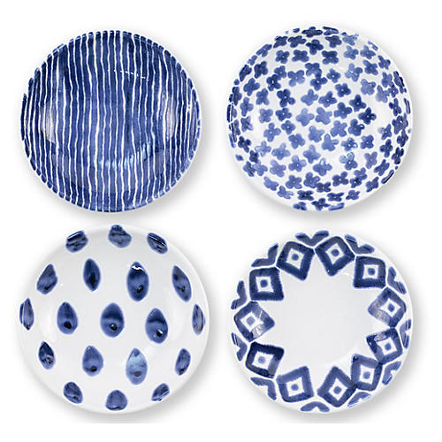Asst. of 4 Santorini Condiment Bowls, Blue/White