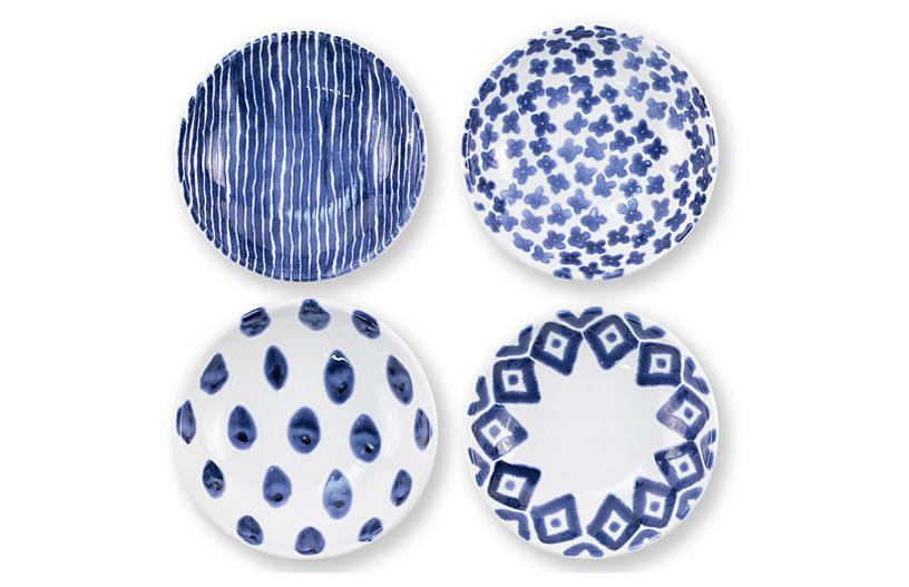 Asst. of 4 Santorini Condiment Bowls, Blue/White