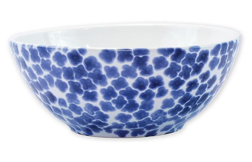 Santorini Flower Serving Bowl, Blue/White