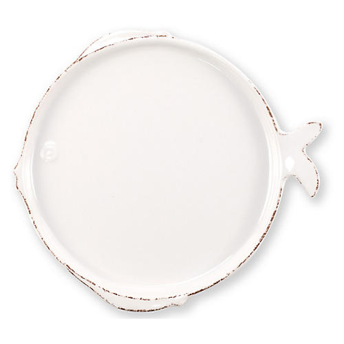 Lastra Fish Melamine Dinner Plate, White