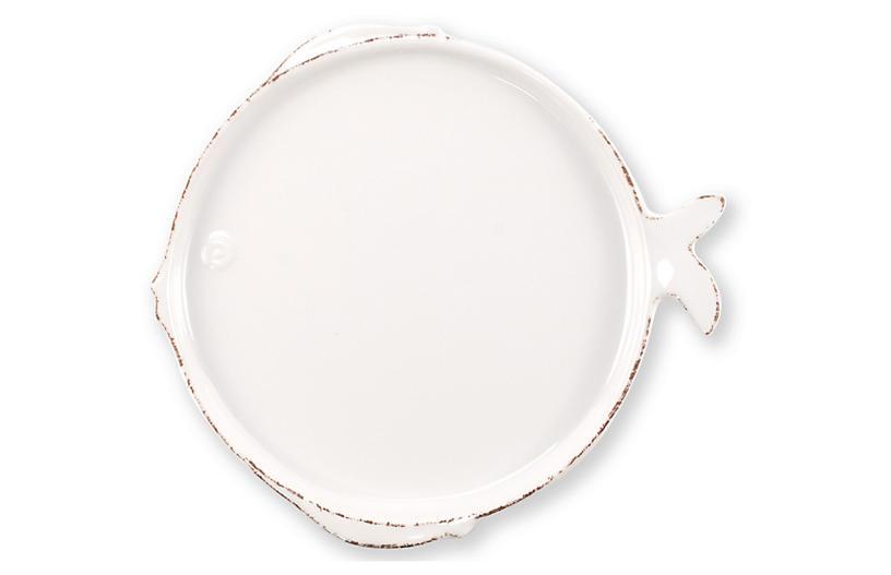 Lastra Fish Melamine Dinner Plate, White