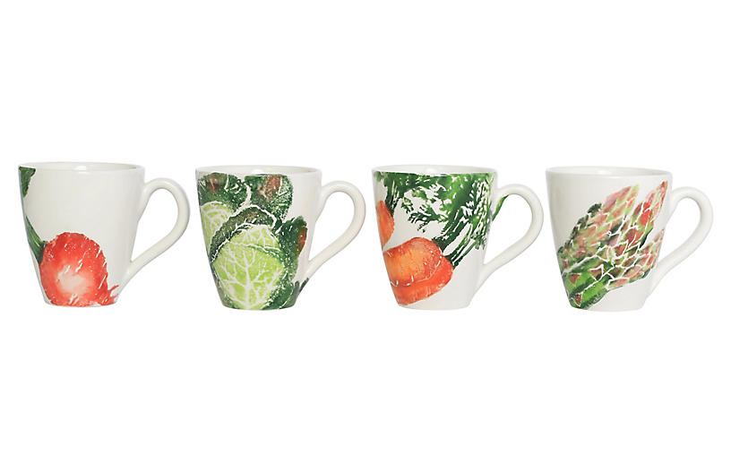 Asst. of 4 Spring Vegetables Mugs, White