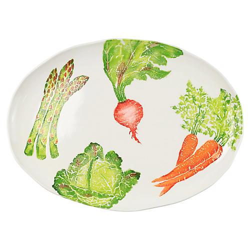 Spring Vegetables Oval Platter, White