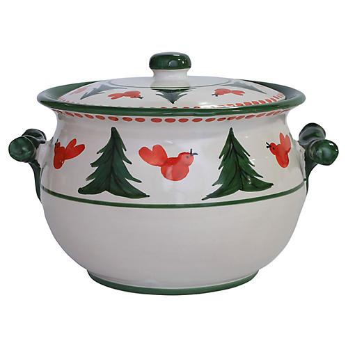 Uccelll Rosso Biscotti Jar, Ivory/Multi