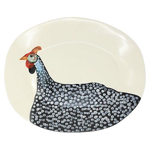 Guinea Hen Oval Platter, Ivory/Multi