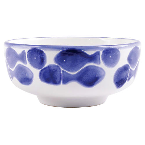 Santorini Fish Footed Serving Bowl, White/Blue