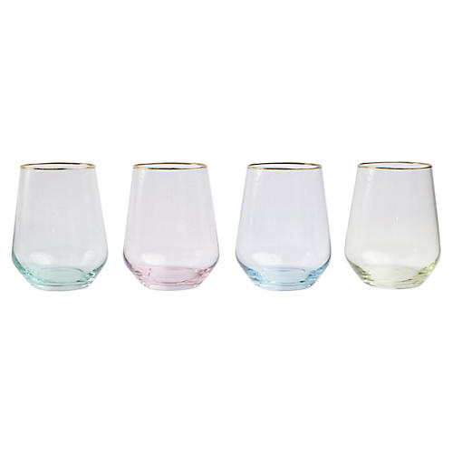 Asst. of 4 Rainbow Stemless Wineglasses, Clear