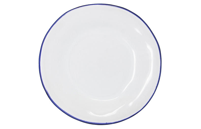 Aurora Edge Dinner Plate, White/Colbalt
