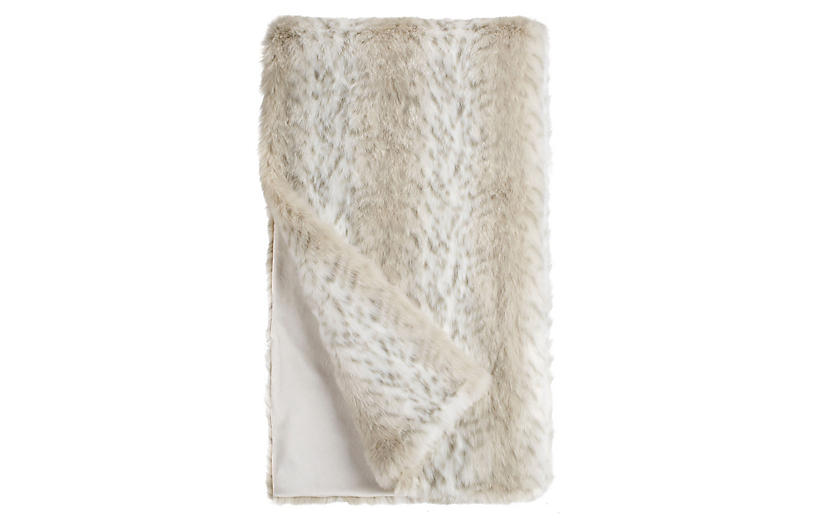 Paige Faux Fur Throw, Lynx