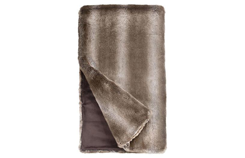 Mia Faux Fur Throw, Timber Wolf