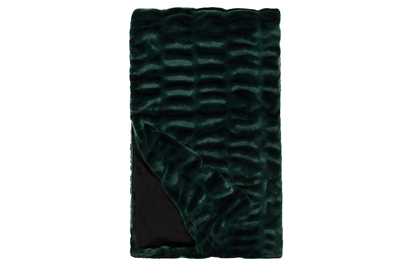 Maya Faux Fur Throw, Emerald