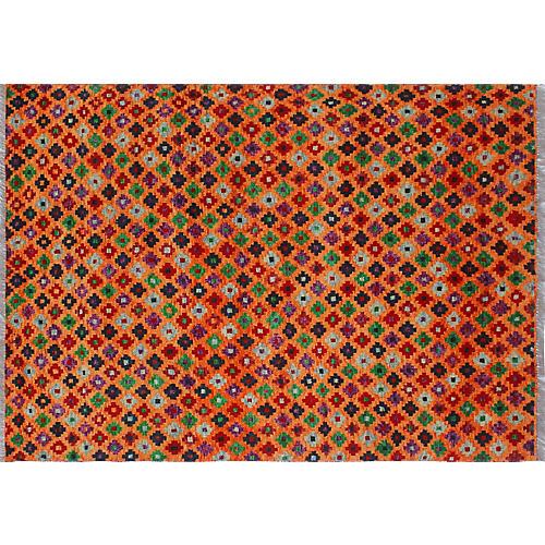 "4'8""x6'6"" Baluchi Marin Rug, Orange/Multi"