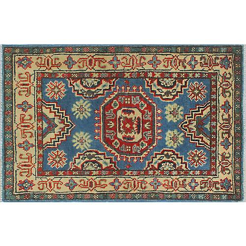 2'x3' Kazak Golnaz Rug, Light Blue/Beige