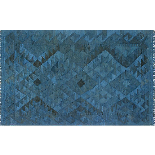 "2'7""x4'1"" Overyded David Kilim Rug, Blue/Black"