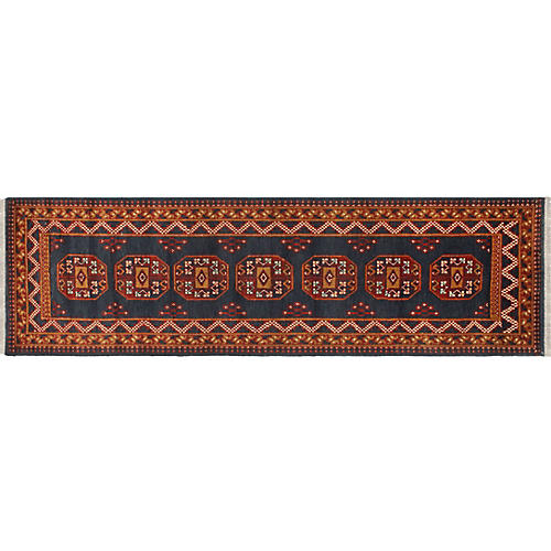"2'8""x9'7"" Baluchi Judy Rug, Blue/Light Brown"