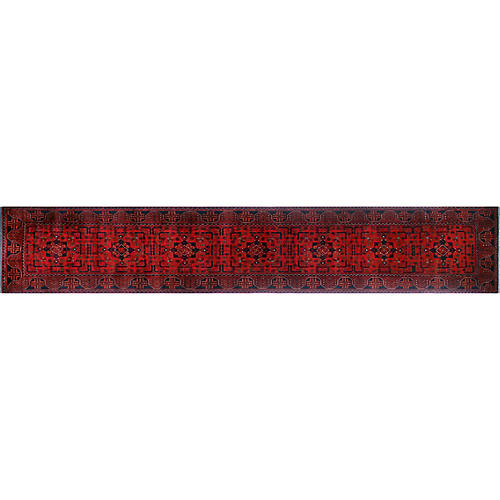 "2'8""x15'10"" Khal Mohammadi Darab Runner, Red/Black"