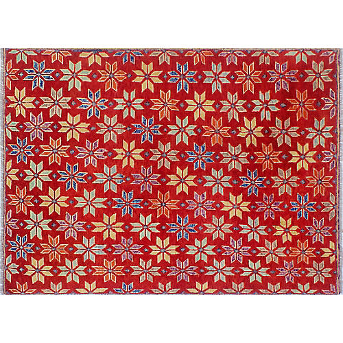 "4'9""x6'6"" Baluchi Andrea Rug, Red/Blue"