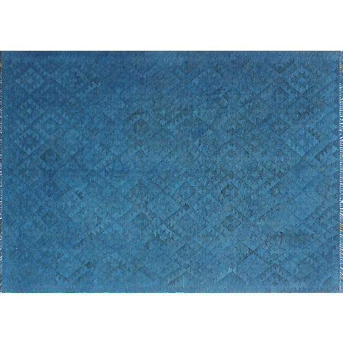 "5'9""x7'5"" Elan Overyded Cesar Kilim Rug, Blue/Gray"