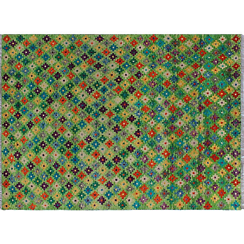 "5'7""x7'10"" Baluchi Jesse Rug, Light Green/Ivory"