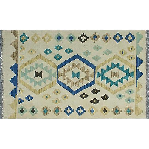 "2'7""x3'10"" Sangat Paola Kilim Rug, Ivory/Blue"