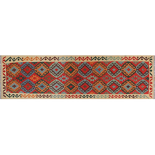 """2'10""""x9'8"""" Notorious Kilim Runner, Red/Ivory"""