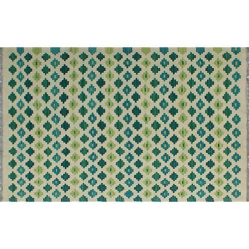 """3'4""""x5' Elianny Kilim, Ivory/Green"""